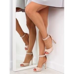 Sandálky na opätku v béžovej farbe pre dámy