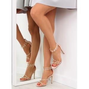 Vysoké dámske sandále v béžovej farbe so zipsom