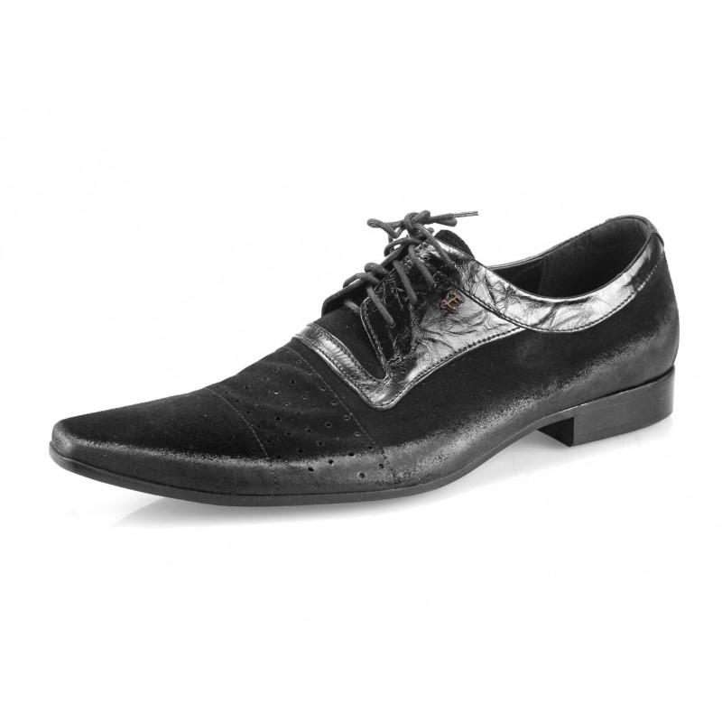 be7335568 Pánske kožené spoločenské topánky čierne - fashionday.eu