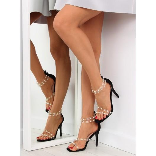 Dámske ramienkové sandále v čiernej farbe