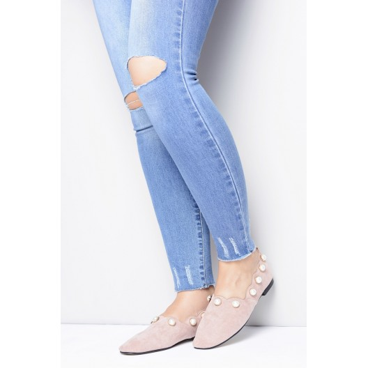 Štýlové topánky dámske ružovej farby zdobené perličkami
