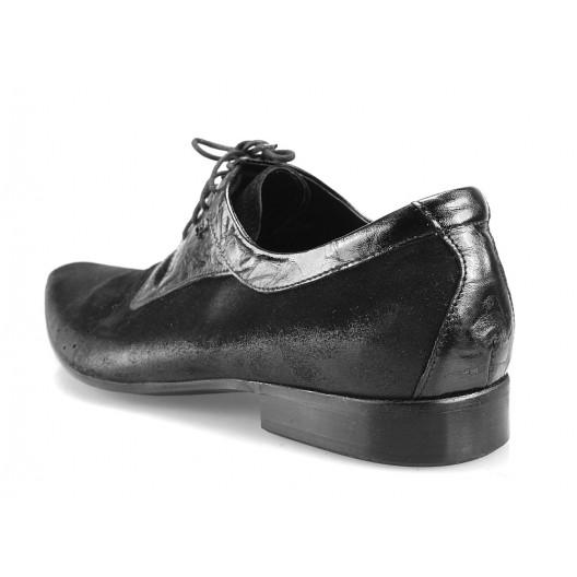 Pánske kožené spoločenské topánky čierne PT193