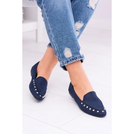 Dámske jesenné topánky tmavo modrej farby s ozdobami