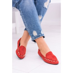Červené topánky do prechodného počasia s vybíjaním