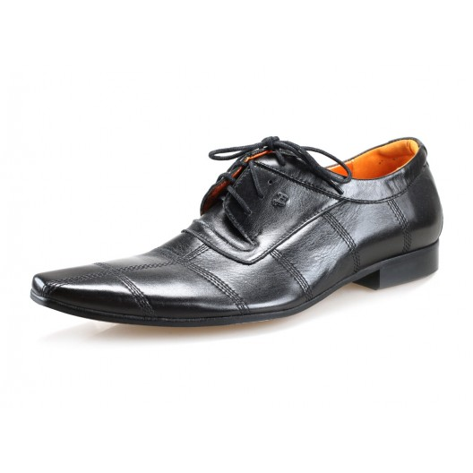 Pánske kožené spoločenské topánky čierne PT194
