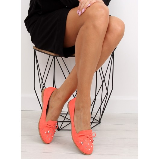Poltopánky dámske v oranžovej farbe s mašličkou