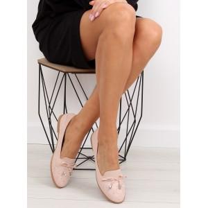 Dámska obuv na jar ružovej farby s mašlikou a vybíjaním