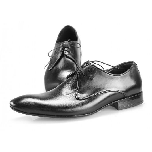 Pánske kožené spoločenské topánky čierne PT195