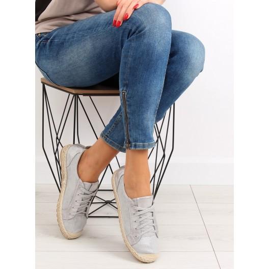 Dámske topánky na leto espadrilky v sivej farbe