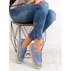 Espadrilky pre dámy v modrej farbe s pleteným vrkočom