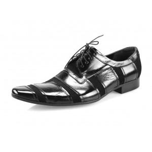 Pánske kožené spoločenské topánky lesklé čierne
