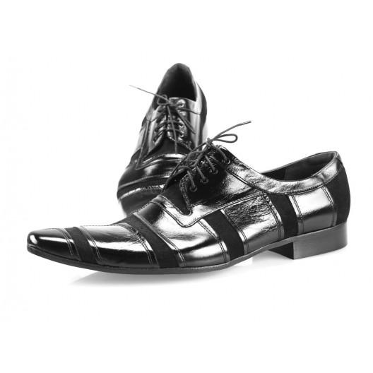 Pánske kožené spoločenské topánky lesklé čierne PT196