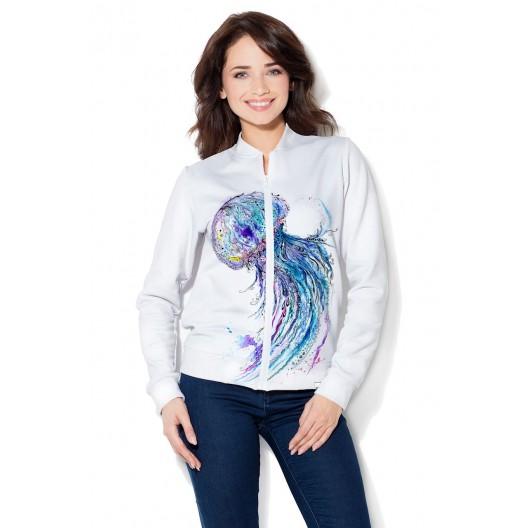 Dámska mikina na zips v bielej farbe s medúzou