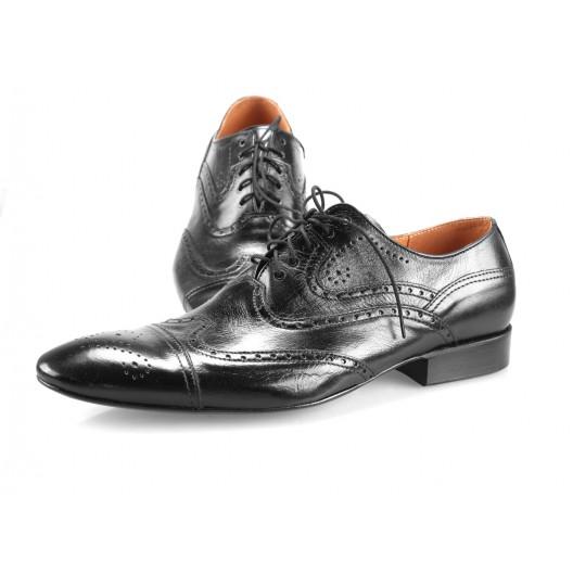 Pánske kožené spoločenské topánky čierne PT197