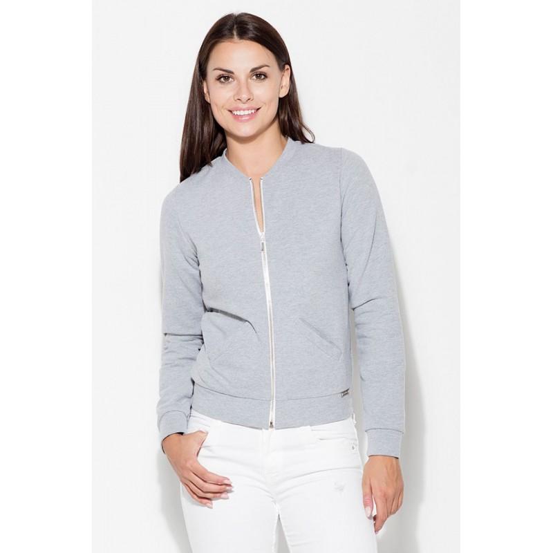 Športové mikiny dámske v sivej farbe na zips  26ad8586b5c