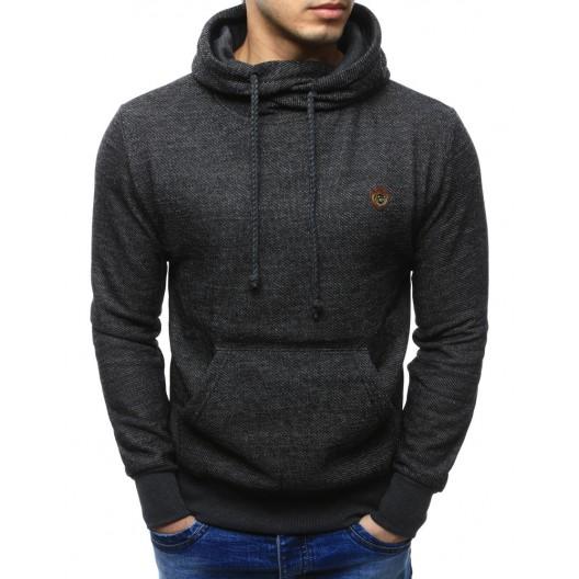 Kvalitné pánske mikiny tmavo sivej farby s kapucňou