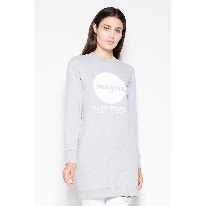 734c0aa4e Predĺžená dámska mikina v sivej farbe s logom | Fashionday
