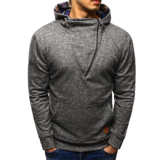 Luxusné pánske mikiny sivej farby s kapucňou a zipsom