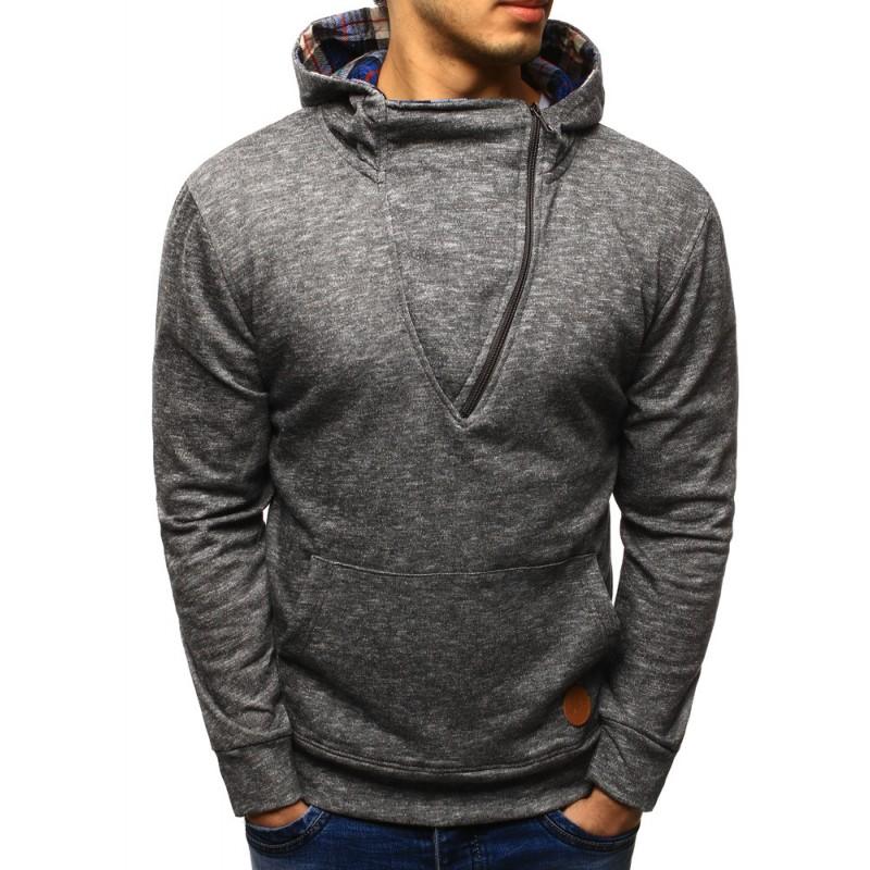 Luxusné pánske mikiny sivej farby s kapucňou a zipsom d2071cce47a