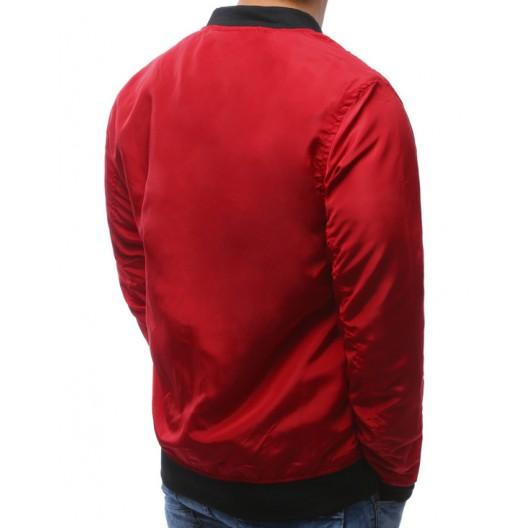 Bomberové bundy na jar červenej farby s čiernymi zipsami