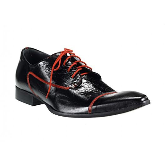 Pánske kožené spoločenské topánky čierne 538
