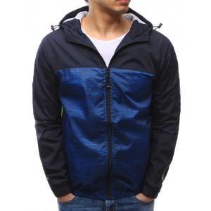 Jarné športové bundy v tmavo modrej farbe s kapucňou