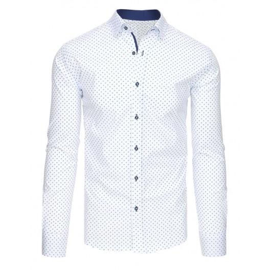 Biela pánska košeľa s dlhým rukávom a modrým vzorom