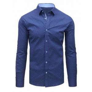 Pánske slim fit košele so vzorom v tmavo modrej farbe