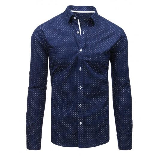 Pánske slim fit košele  tmavo modrej farby s guličkami