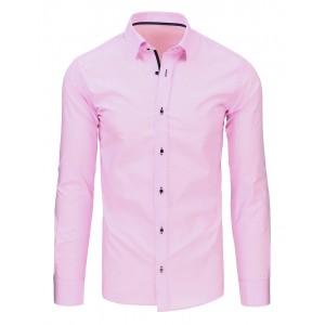 Pánske košele s dlhým rukávom v ružovej farbe
