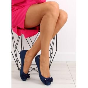 Elegantné balerínky pre dámy v modrej farby s mašľou