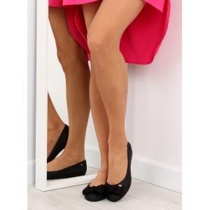 Balerínky v čiernej farbe pre dámy s mašľou