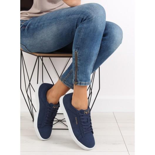 Dámske botasky na na šnurovanie v modrej farbe