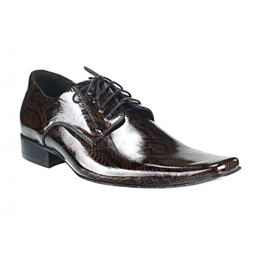 Pánske kožené spoločenské topánky hnedo/čierne 515