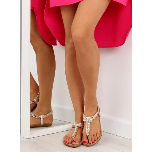Dámske sandále na leto medzi prsty v zlatej farbe