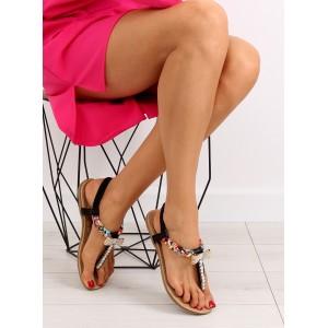 Sandále s kamienkami v čiernej farbe pre dámy