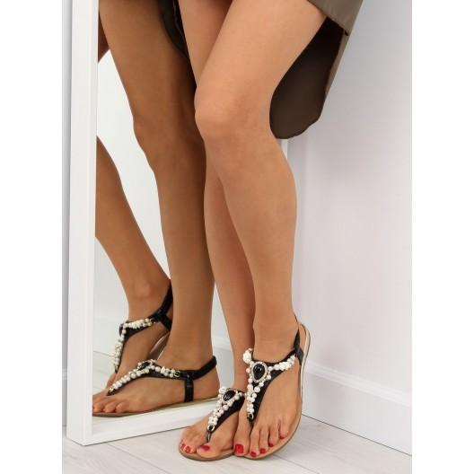 Dámske sandále nízke v čiernej farbe s korálkami