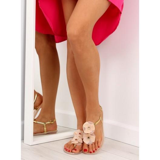 Dámske sandále na leto v béžovej farbe s kvetmi