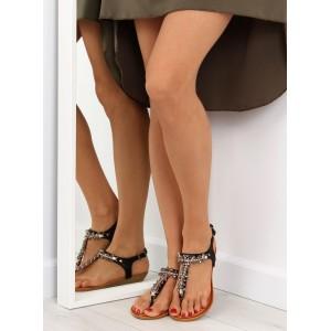 Sandále na leto s kamienkami v čiernej farbe pre dámy