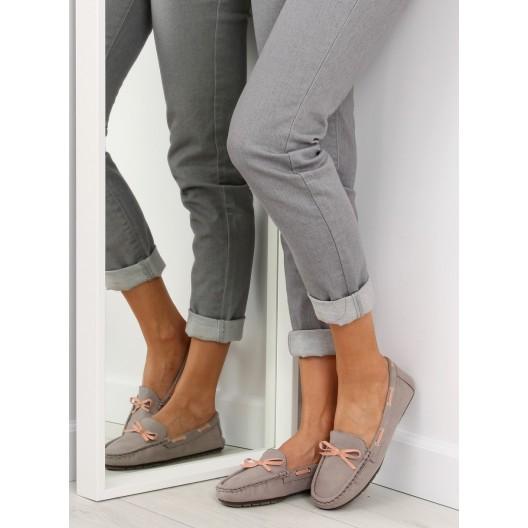 Elegantné mokasíny pre dámy v sivej farbe