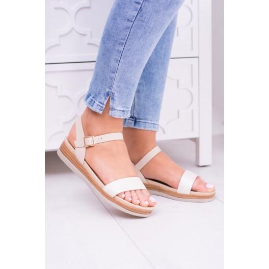 Platformové sandále na leto v béžovej farbe