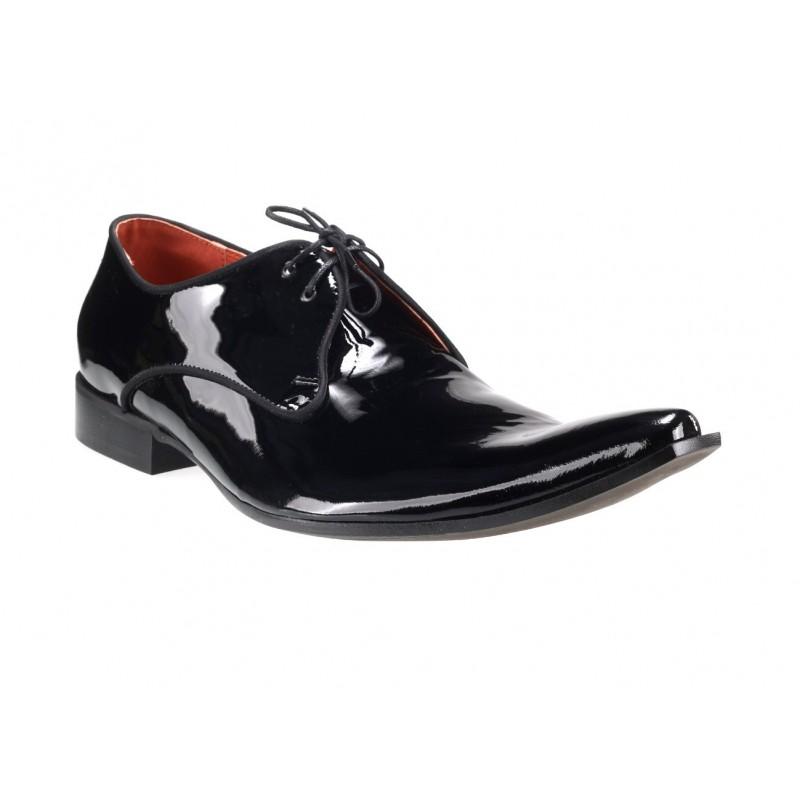 Pánske kožené spoločenské topánky lesklé čierne - fashionday.eu 65233572b11