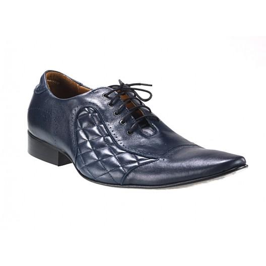 Pánske kožené spoločenské topánky tmavomodré 503