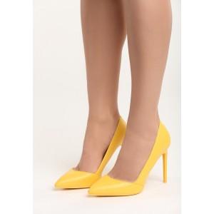 Dámske lodičky na vysokom podpätku v žltej farbe