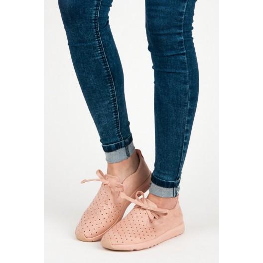 Dámske športové botasky v ružovej farbe s bodkami