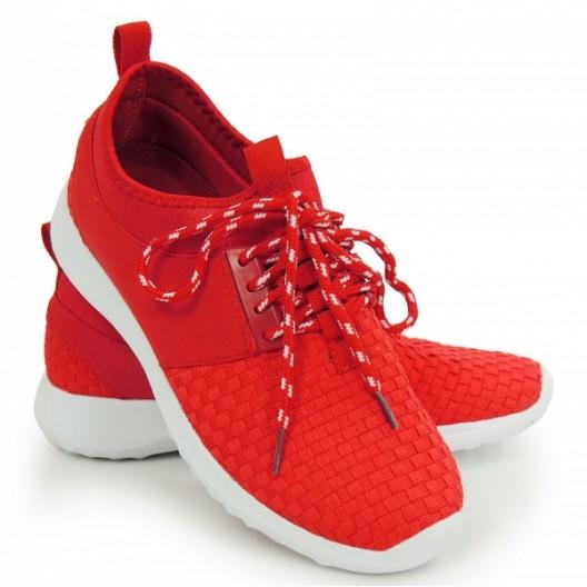 Lacné dámske tenisky na leto v červenej farbe