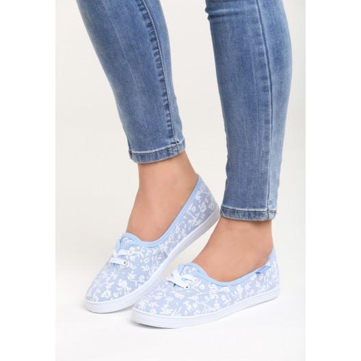 Dámska obuv modrá s kvetinovým motívom