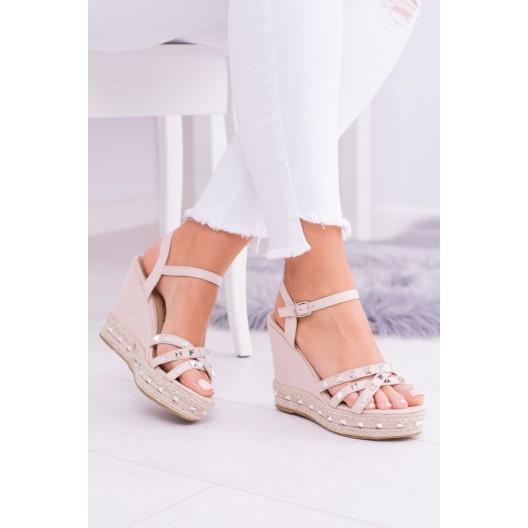Sandále s kamienkami ružovej farby na platforme