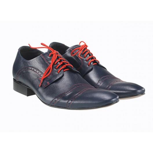 Pánske kožené spoločenské topánky tmavomodré 489
