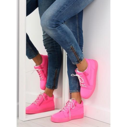 Dámske kotníkové tenisky ružovej farby na zips